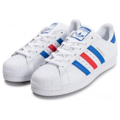adidas superstar femme blanche et bleu marine