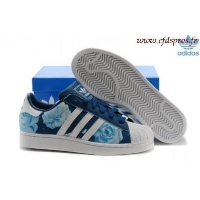 adidas superstar femme fleur bleu