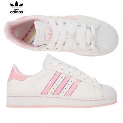 adidas superstar rose et blanche femme