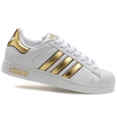 basket adidas femme blanche et or